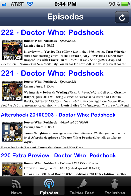 Podshock Companion App Screenshot